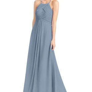 Azazie Ginger bridesmaid dress in Dusty Blue.